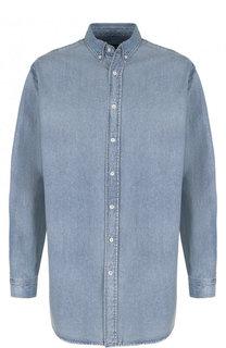 Джинсовая рубашка с логотипом бренда Balenciaga