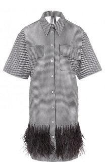 Хлопковое платье-рубашка в клетку с перьевой отделкой No. 21