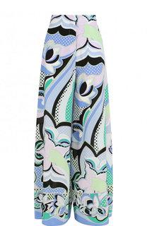 Шелковые брюки свободного кроя с принтом Emilio Pucci