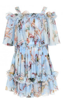 Шелковое мини-платье с принтом Dolce & Gabbana