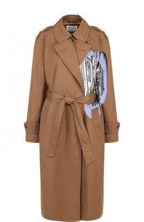 Однотонное пальто из смеси полиэстера и хлопка Maison Margiela