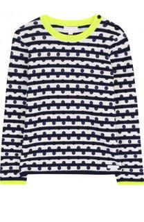 Пуловер из смеси хлопка и кашемира с принтом и контрастной отделкой Burberry