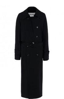 Однотонное пальто свободного кроя с поясом Acne Studios