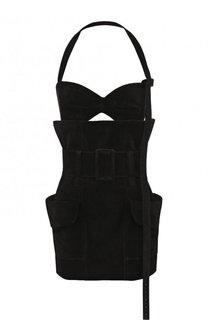 Однотонное мини-платье из кожи с открытой спиной Saint Laurent