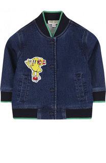 Джинсовая куртка-бомбер на кнопках с нашивками Kenzo