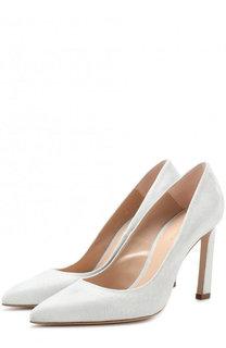 Текстильные туфли на геометричном каблуке Stuart Weitzman