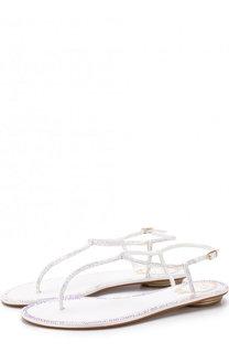 Текстильные сандалии с отделкой кристаллами Rene Caovilla