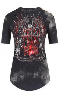 Хлопковая футболка с круглым вырезом и логотипом бренда Balmain