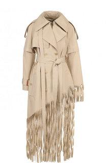 Однотонное хлопковое пальто с оборками Loewe