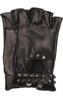 Кожаные митенки с металлической отделкой Sermoneta Gloves