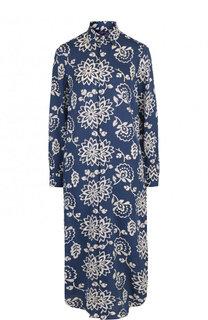Шелковое платье-рубашка с контрастным принтом Ralph Lauren
