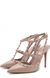 Кожаные туфли Valentino Garavani Rockstud с ремешками на шпильке Valentino