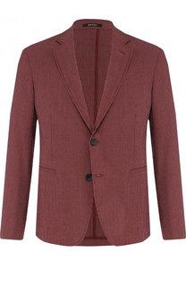 Однобортный пиджак из смеси шерсти и шелка с вискозой Giorgio Armani