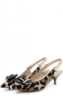 Туфли с отделкой из меха на каблуке kitten heel No. 21