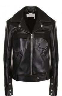 Кожаная куртка на молнии с карманами Chloé