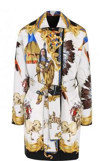 Двустороннее пальто из смеси хлопка и шелка с поясом и принтом Versace