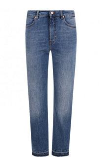 Однотонные укороченные джинсы с потертостями Escada Sport
