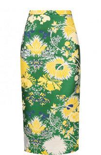 Хлопковая юбка-карандаш с разрезом и принтом Rochas