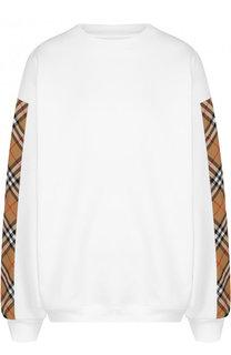 Хлопковый пуловер с круглым вырезом Burberry