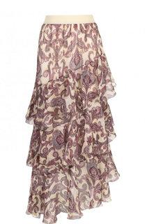 Шелковая юбка-миди с оборками и принтом Zimmermann
