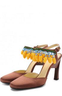 Шелковые туфли с подвесками на геометричном каблуке Marni