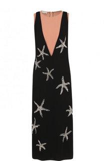 Платье-миди свободного кроя с контрастной отделкой Dries Van Noten