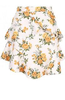 Льняная мини-юбка с оборками и принтом Zimmermann