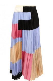 Плиссированная юбка-миди с контрастной отделкой Marni