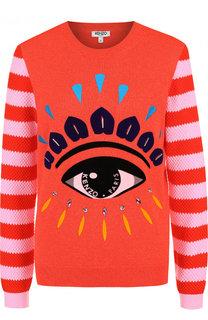 Хлопковый пуловер с круглым вырезом и принтом Kenzo