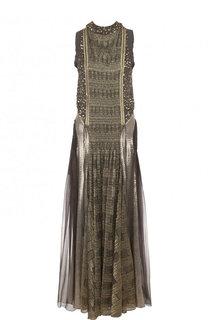 Приталенное платье с контрастной отделкой и открытой спиной Chloé