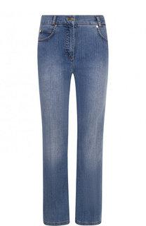 Укороченные расклешенные джинсы с потертостями Escada