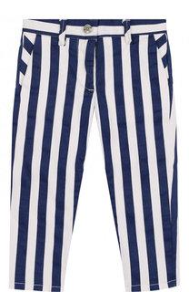 Хлопковые брюки в полоску Monnalisa