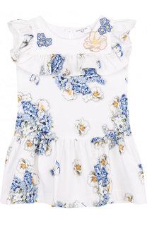 Хлопковое мини-платье с принтом и оборками Monnalisa
