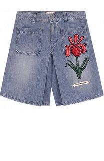Джинсовая юбка-шорты с вышивкой Gucci