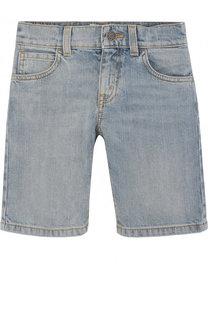 Джинсовые шорты с контрастным принтом Gucci