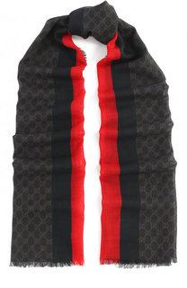 Шерстяной шарф с необработанным краем Gucci
