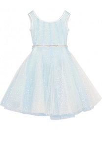 Многослойное приталенное платье с пайетками и стразами на поясе Monnalisa