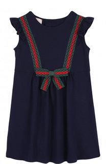 Хлопковое платье с бантом и контрастной отделкой Gucci