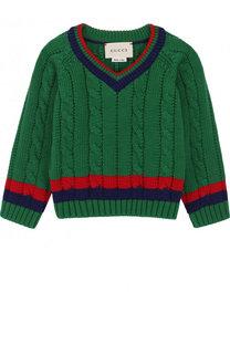 Хлопковый пуловер с контрастной отделкой и V-образным вырезом Gucci