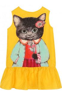 Шелковое мини-платье с принтом Gucci