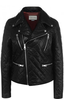 Стеганая кожаная куртка с декорированной спинкой Gucci