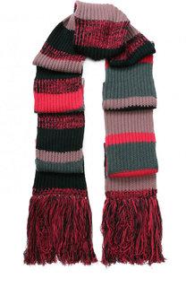 Вязаный шарф из смеси шерсти и кашемира с бахромой Burberry