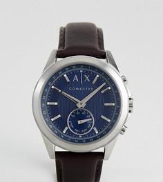 Гибридные смарт-часы со светло-коричневым кожаным ремешком Armani Exchange Connected AXT1010 - Рыжий