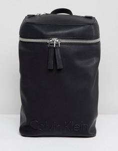 Рюкзак с молнией и тисненным логотипом Calvin Klein - Черный