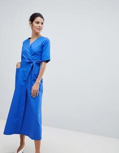 Платье миди с запахом Closet - Синий
