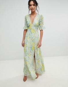 Платье макси с цветочным принтом и разрезом Hope & Ivy - Мульти