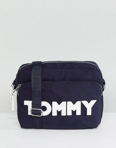 Нейлоновая сумка через плечо с логотипом Tommy Hilfiger - Темно-синий