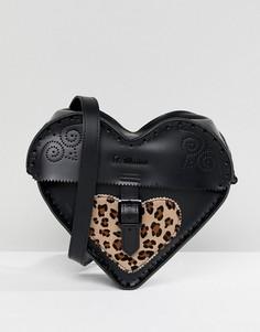 Кожаная сумка через плечо в форме сердца с леопардовым принтом на контрастной вставке Dr.Martens - Черный
