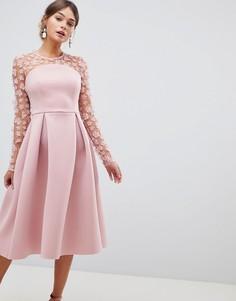 Платье миди для выпускного с рельефным цветочным кружевом ASOS DESIGN - Розовый