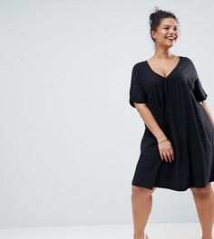 Свободное хлопковое платье ASOS DESIGN Curve - Черный